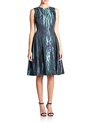 Carmen Marc Valvo Moire Fit And Flare Dress Teal