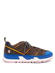 Burberry Union Panelled Pu Trainers Brown Multi