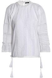 Love Sam Crochet Trimmed Pintucked Cotton Voile Blouse White