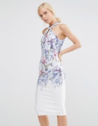 Hope And Ivy High Neck Midi Pencil Dress With Placement Floral Print White