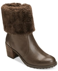 Aerosoles Incognito Booties Women's Shoes Dark Brown Leather