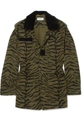 Saint Laurent Shearling Trimmed Zebra Print Cotton Blend Twill Jacket Army Green