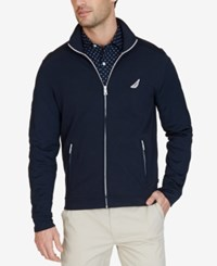 Nautica Men's Slim Fit French Terry Track Jacket True Navy