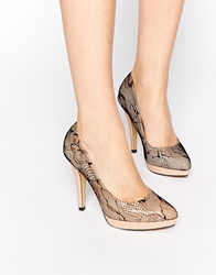 Little Mistress Platform Heeled Court Shoes Nude