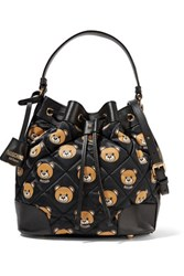 Moschino Leather Trimmed Quilted Printed Shell Bucket Bag Black