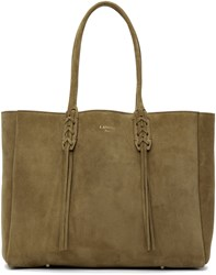 Lanvin Beige Small Suede Shopper Tote