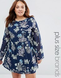 Yumi Plus Skater Dress In Floral Print Navy