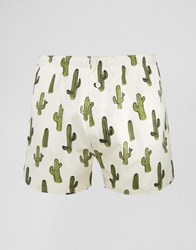 Asos Woven Boxers With Cactus Print Beige