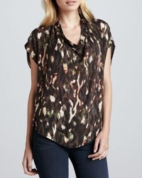 Haute Hippie Cowl Neck Abstract Print Blouse Chocolate Multi