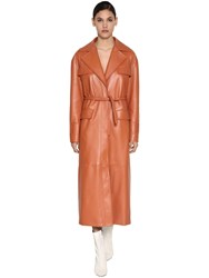 Drome Leather Trench Coat Terracotta