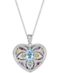 Macy's Multi Gemstone 2 Ct. T.W. And Diamond 1 10 Ct. T.W. Filigree Locket Pendant Necklace In Sterling Silver