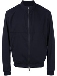 Armani Collezioni Bomber Jacket Men Polyester Polyurethane Wool 48 Blue