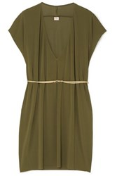 Eres Belted Stretch Jersey Mini Dress Army Green