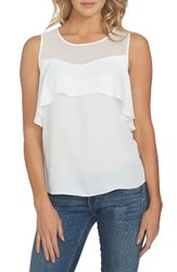 1.State Women's Sheer Yoke Ruffle Tank