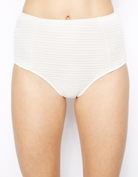 Motel White High Waisted Long Line Bikini Bottom