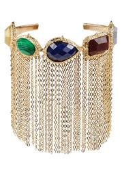Isharya Abstract Mughal Fringed Gold Plated Cuff Multicoloured