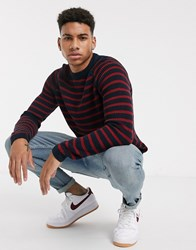 Tom Tailor Knited Jumper In Navy Red Stripe