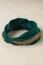 Anthropologie Gold Leaf Headband Green Motif