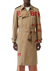 Burberry Printed Cotton Canvas Trench Coat Honey