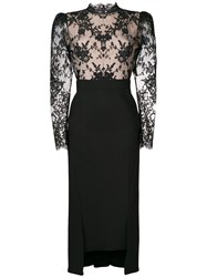 Alexander Mcqueen Lace Detail Fitted Dress Black