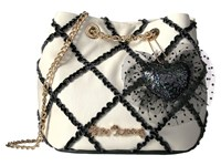 Betsey Johnson Cross Your Heart Drawstring Black White Drawstring Handbags