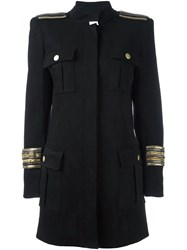 Balmain Pierre Chain Embellished Military Coat Black