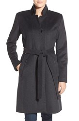 Women's Badgley Mischka 'Ivana' Long Belted Inverted Collar Coat