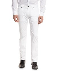 Armani Collezioni Aj Stretch Gabardine Slim Fit Pants White