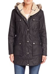 Barbour Carribena Faux Fur Trim Waxed Cotton Jacket Navy