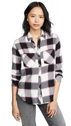 Rails Leo Button Down Shirt White Midnight Magenta
