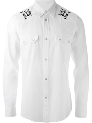 Mauro Grifoni Anchor Embroidered Shirt White