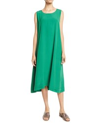 Eskandar Crewneck Sleeveless Silk Shift Dress W Pleated Edge Green