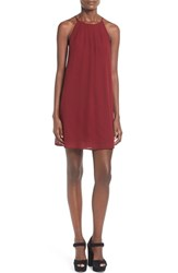Junior Women's Lush Pleat Detail Chiffon Trapeze Dress Wine