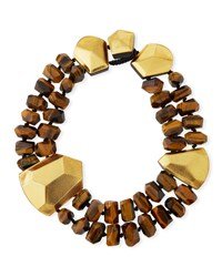 Viktoria Hayman Tiger's Eye And Golden Foil Statement Collar Necklace Brown Pattern