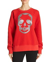Aqua Zadig And Voltaire X Foil Skull Sweatshirt 100 Exclusive Red Gunmetal