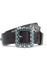 Prada Embellished Leather Belt Black