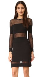 Intropia Long Sleeve Mesh Cutout Dress Black