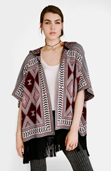 Topshop Hooded Fringe Cardigan Red Multi