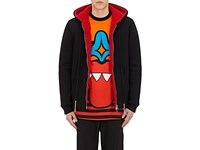 Givenchy Men's Sherpa Lined Neoprene Hoodie Black Red No Color