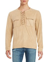 Laboratory Lt Man Sueded Lace Up Shirt Tan