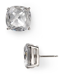 Kate Spade New York Small Square Stud Earrings Clear Silver