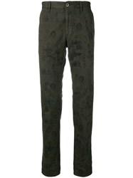 Incotex Printed Straight Leg Trousers Green