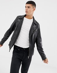 Selected Homme Leather Biker Jacket Black