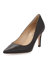 Neiman Marcus Cissy Pointed Toe Leather Pump Black