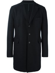 Harris Wharf London Single Breasted Flap Pockets Coat Blue