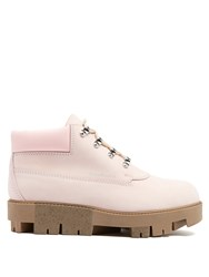 Acne Studios Tinne Track Sole Nubuck Ankle Boots Light Pink