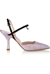 Miu Miu Satin Trimmed Metallic Brocade Mary Jane Pumps Pink