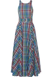 Gul Hurgel Belted Checked Cotton And Linen Blend Midi Dress Blue