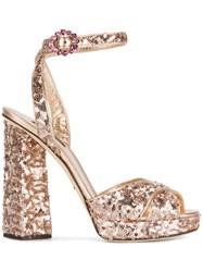 Dolce And Gabbana Rose Gold Sequin Platform Heels Calf Leather Lamb Skin Leather Polyester 37.5 Metallic
