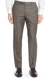Boss Men's 'Leenon' Flat Front Solid Wool Trousers Light Pastel Brown